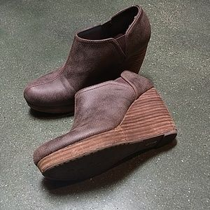 Brown wedge booties size 8.5